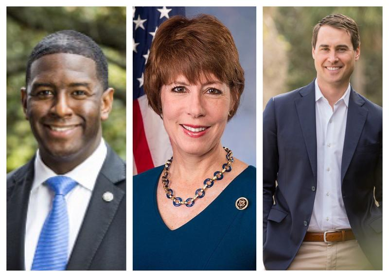Andrew Gillum (l), Gwen Graham and Chris King