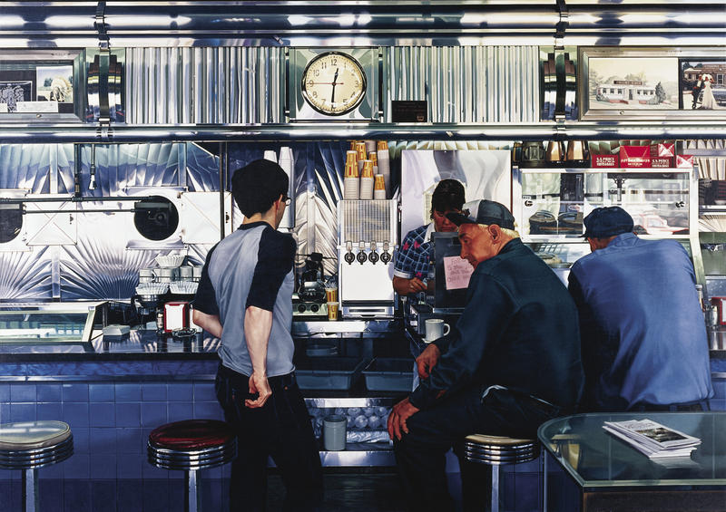 Ralph Goings (American, b. 1928) Collins Diner, 1985-86, Oil on canvas.