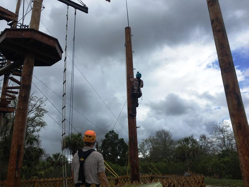 The most challenging task of all wraps up the extreme package. The Leap of Faith involves climbing up a power pole -- easy enough -- and then standing upright on its narrow surface -- not easy at all -- before jumping off it.