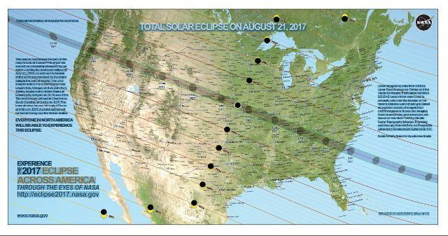 Map of the Path of the total eclipse