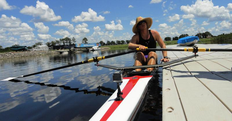 Rower Nick Edwards takes a test ride on the course for the upcoming championships.
