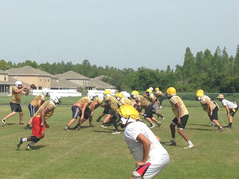 Sunlake High players line up in formation during the first week of practice at the Land O' Lakes school.