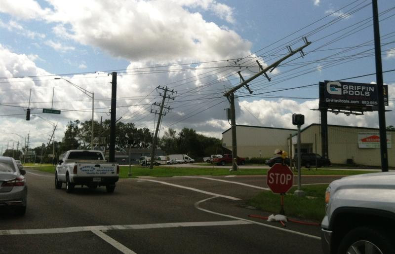 Power poles snapped along U.S. 98, just south of the Polk Parkway in Lakeland