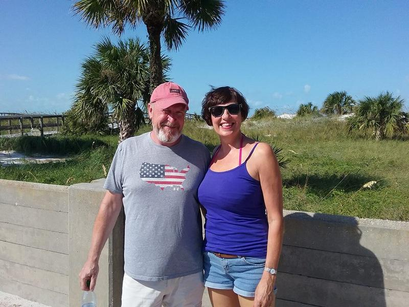 Audrey Simpson and Alan Farquhar from Scotland are vacationing in St. Pete. They evacuated to Sarasota during Irma.