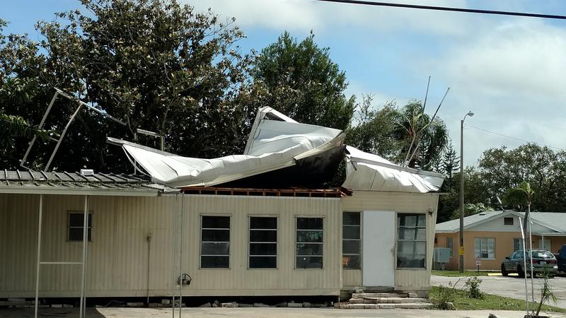 One of multiple mobile homes damaged in Green Meadows Mobile Home Park in Largo.