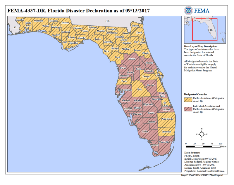 Residents in 37 Florida counties are eligible to file for individual disaster aid from FEMA, as of 5 p.m. Wednesday.