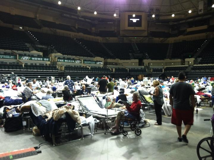 Special needs evacuees take up much of the floor of the USF Sun Dome in Tampa on Sunday, Sept. 10.