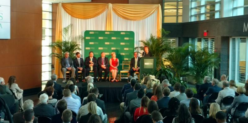 USF System President Judy Genshaft talks at a ceremony in the USF Muma College of Business atrium Tuesday.