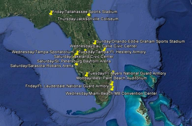 Map showing the regularly scheduled days and cities Championship Wrestling from Florida regularly presented events.