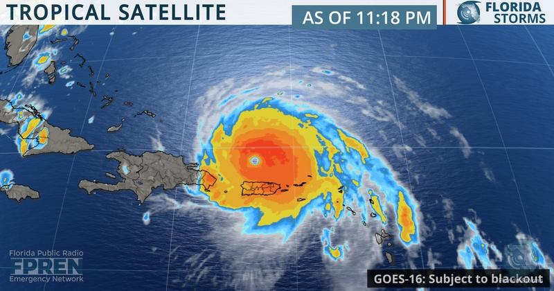 Tropical satellite showing Hurricane Irma in the Caribbean.