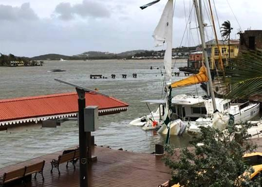 Yachts tossed and sunk in the Christiansted harbor in St. Croix.