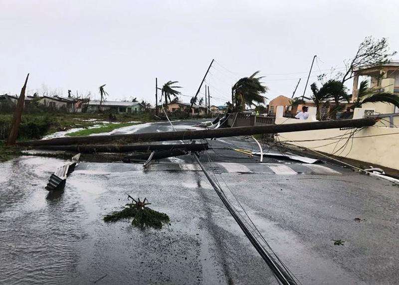 Downed power lines on St. Croix after Hurricane Maria blew through.