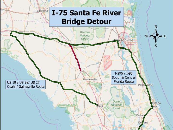 Possible detours if the rising Santa Fe River closes I-75.