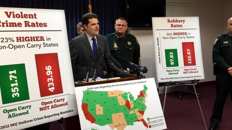 State Rep. Matt Gaetz, R-Fort Walton Beach, joined by Brevard County Sheriff Wayne Ivey, speaks about his bill that would allow concealed-carry permit-holders to openly carry their weapons in Florida during a press conference Oct. 6, 2015