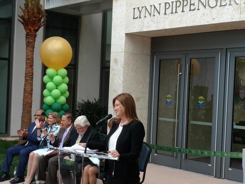 Sophia Wisniewska speaks at the formal opening of the USF St. Petersburg Lynn Pippenger in January 2017.