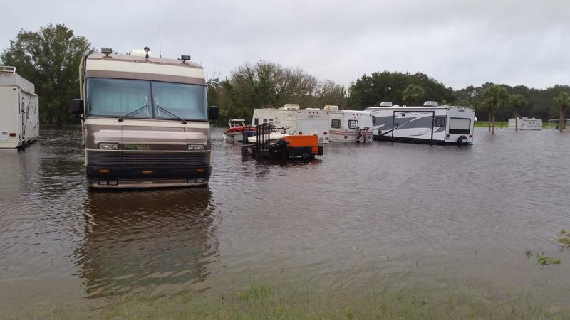 Flooding at Beginning Point RV Park in Pasco County.