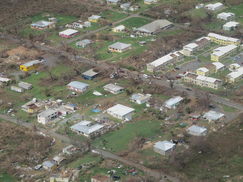 From the air, the magnitude of Hurricane Maria on the island of St. Croix is clear.