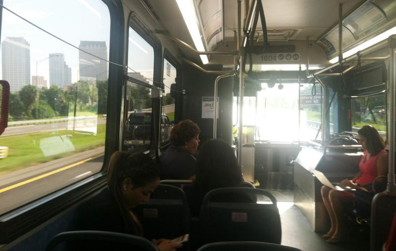 On the bus through Downtown Tampa
