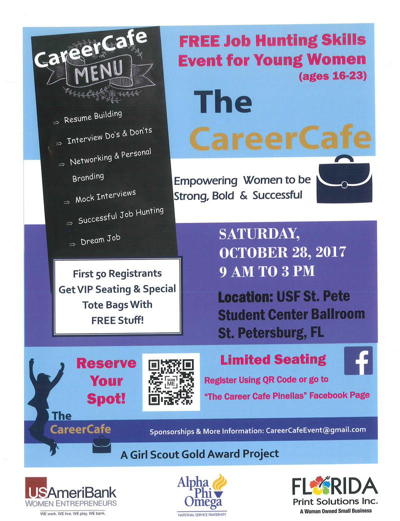 The promotional flyer for this Saturday's The Career Cafe event.