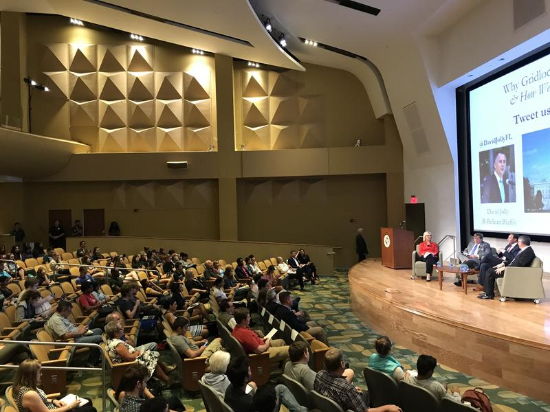 Dozens of students and Tampa Bay area residents filled a theater at the University of South Florida to hear former Congressmen David Jolly and Patrick Murphy discuss gridlock in Washington and how they think communities can help fix it.