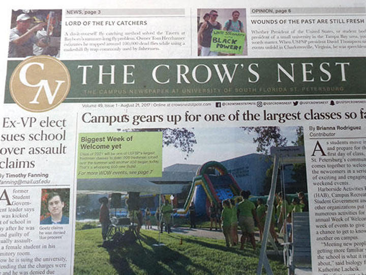 The Crow's Nest, USF St. Petersburg's student newspaper.