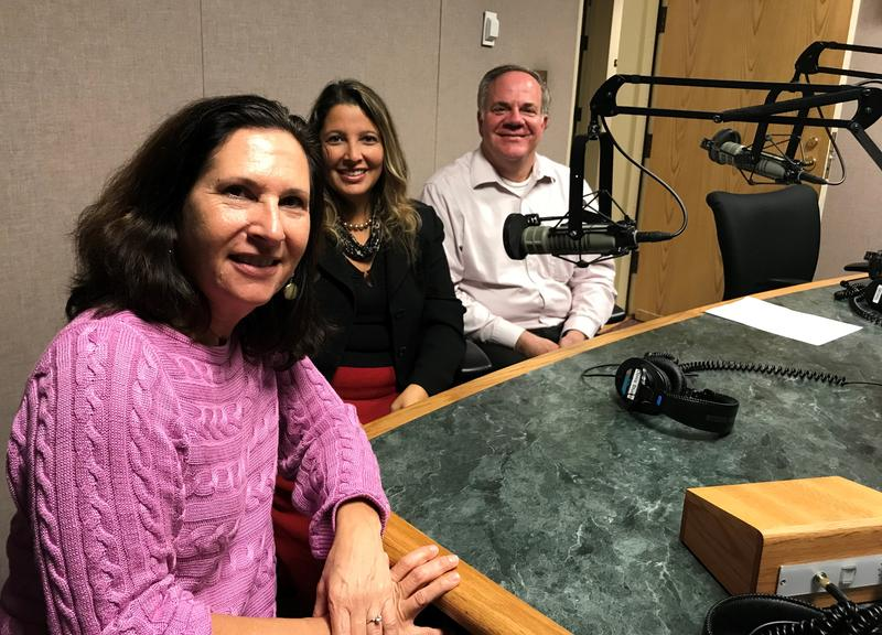 Florida Matters host Robin Sussingham (l) joined in the Donis Studio by panelists Ana Gibbs with Duke Energy and Ralph Fehr with the University of South Florida