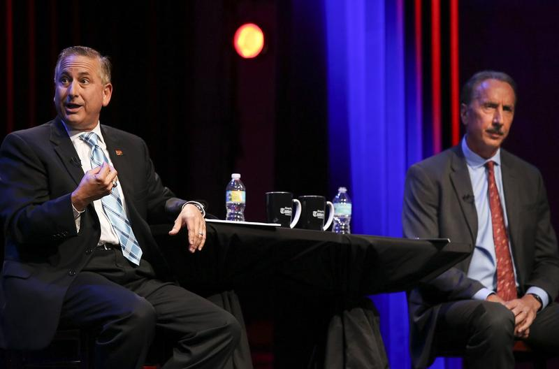 St. Petersburg Mayor Rick Kriseman, left, and former Mayor Rick Baker