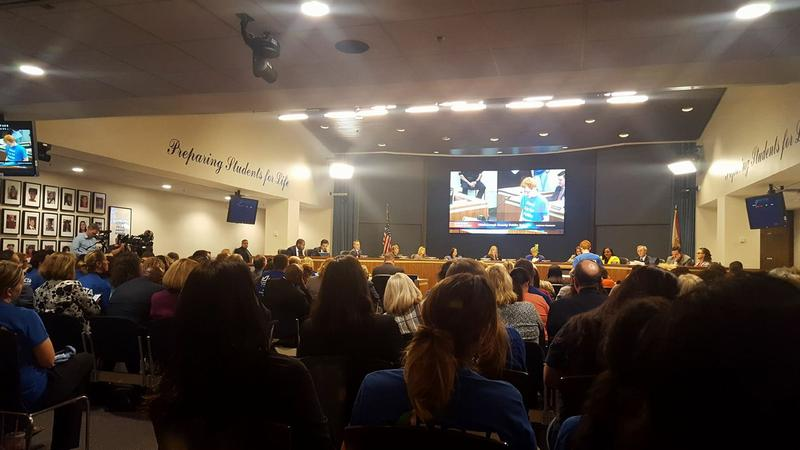Hillsborough County teachers are not legally permitted to strike, but they did voice their displeasure over a pay raise dispute at Tuesday's School Board meeting in Tampa.