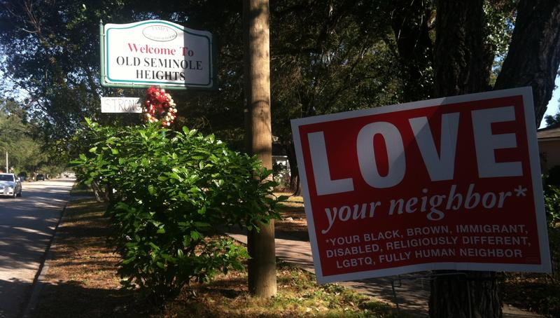 Signs alongside Central Avenue in Seminole Heights