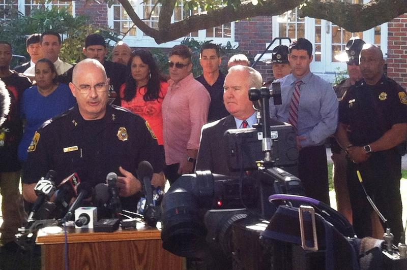 Tampa Police Chief Brian Dugan, left, and Mayor Bob Buckhorn at press conference at the Seminole Heights Garden Center