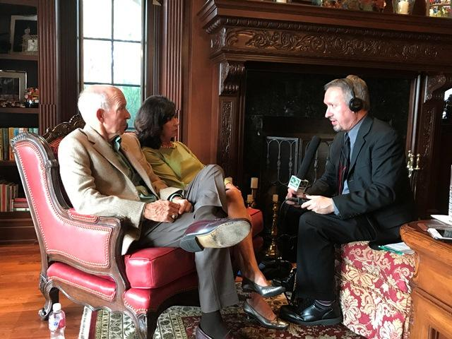 WUSF's Mark Schreiner (right) interviews Pam and Les Muma about their latest $15 million donation to USF in their Belleair home on Nov. 8.