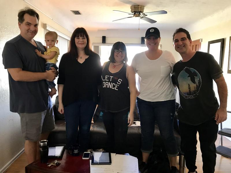 Singers with the Florida Bjorkestra practice in founder and pianist Jeremy Douglass' (l) living room ahead of a recent show in St. Petersburg.