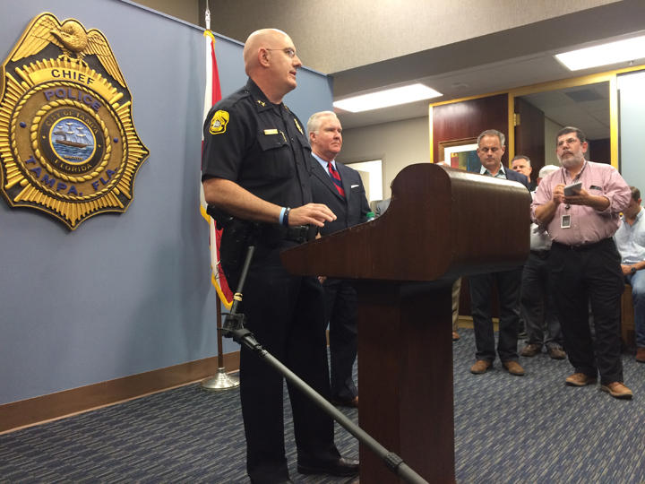 Tampa Police Chief Brain Dugan and Mayor Bob Buckhorn speak to the press about the Seminole Heights slayings.
