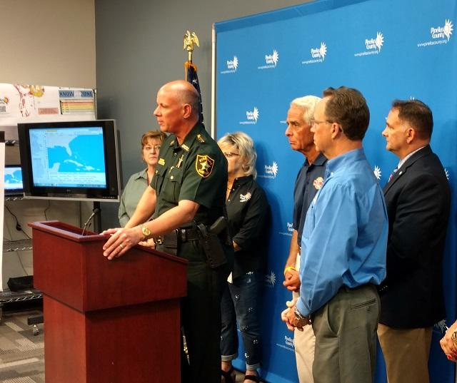 Pinellas Co. Sheriff Bob Gualtieri speaks to reporters during a briefing on Hurricane Irma at the PCSO Emergency Operations Center on Sept. 8, 2017
