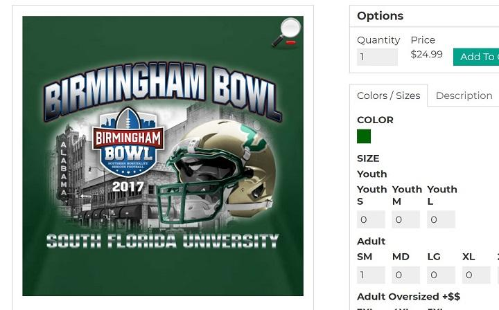 "Ads for official Birmingham Bowl merchandise briefly bore the name ""South Florida University"" instead of ""University of South Florida"""