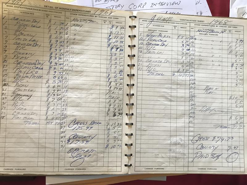 "Inside Emmanuel P. Johnson's bookkeeping record for the concession stand. You'll notice a big '0' next to the letters ""EP"" -- Johnson frequently didn't pay himself, as he had to give some profits to Hillsborough County and use others to stock the stand."