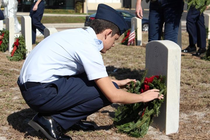 Many members of the local U.S. Air Force Reserve Officer Training Corps (ROTC) laid wreaths at the Tampa Wreaths Across America event.