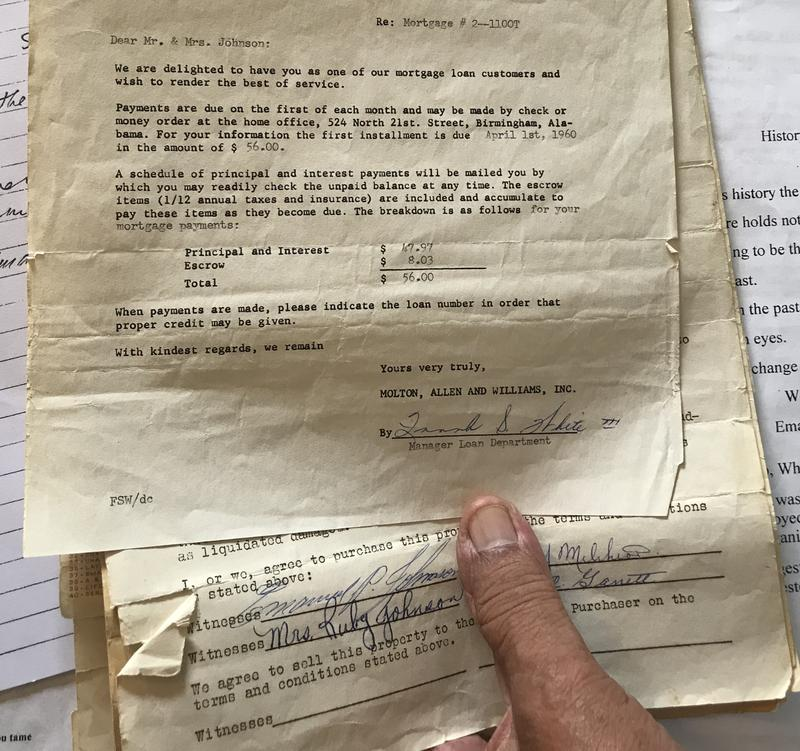 A copy of Emmanuel P. Johnson's first mortgage. Look closely and you'll see he was only paying $56 a month for his home back in 1960. All the homes in Progress Village were relatively affordable.
