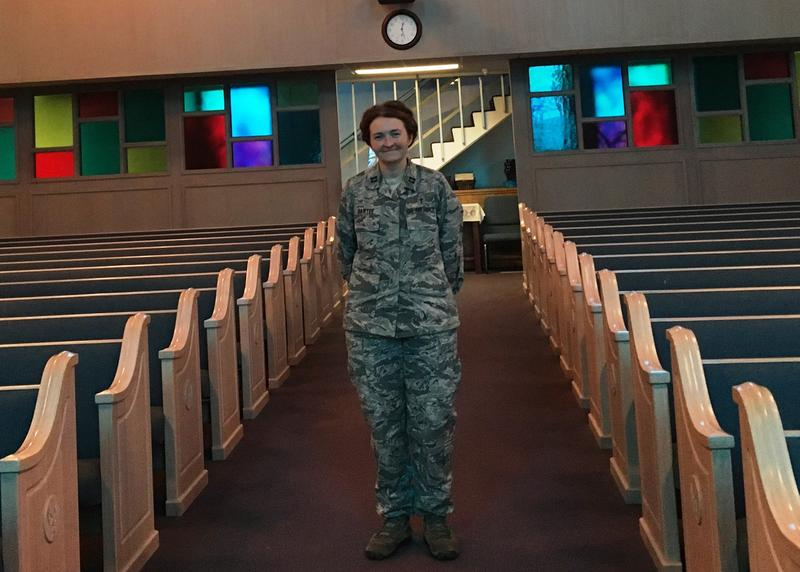 Air Force Chaplain, Capt. Amy Bartee, stands inside the MacDill AFB chapel, designed without specific religious symbols so it can be used by all faiths.