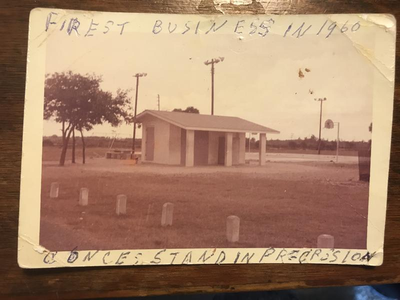 An old photo of the concession stand where young residents of Progress Village used to hang out. It's considered the neighborhood's first business and was run by founding resident Emmanuel P. Johnson.
