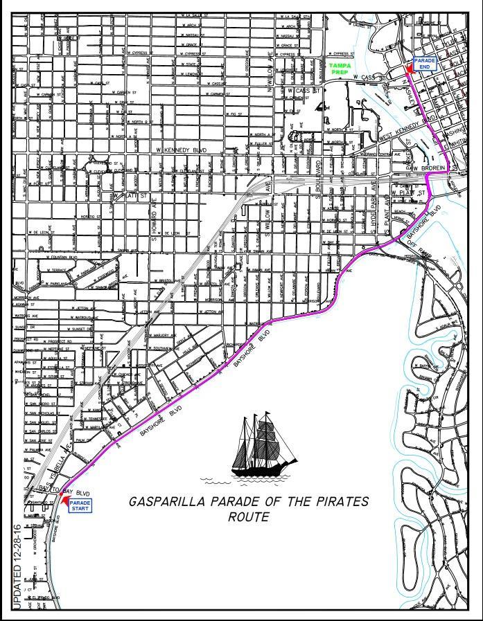 Gasparilla Parade Route