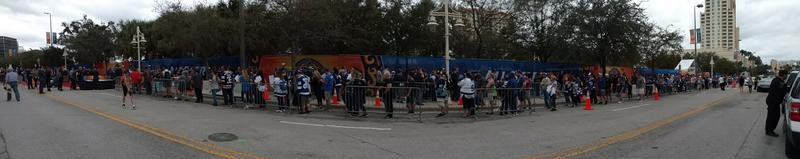 Fans lined up outside Cotanchobee Fort Brooke Park for Sunday's NHL All-Star Pre-game activities.