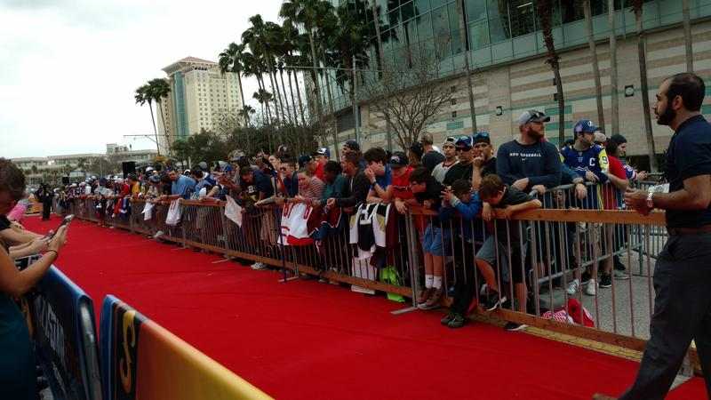 Fans lined the red carpet outside Amalie Arena to greet All-Star players and coaches Sunday.