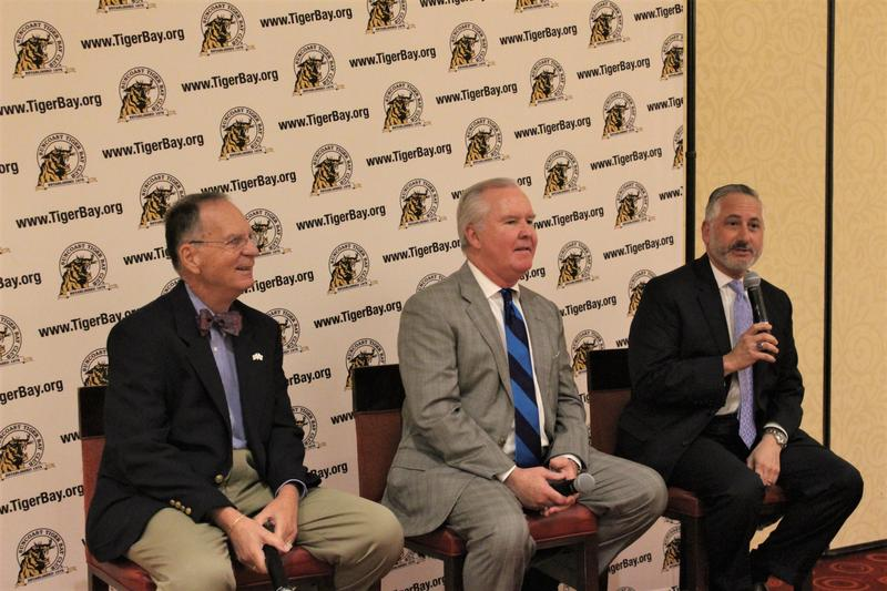 The mayors of Clearwater, Tampa and St. Petersburg have spoken together at the Suncoast Tiger Bay Club for several years.