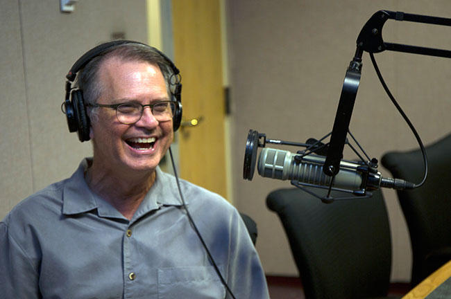 USF Distinguished Professor of Jazz Studies Chuck Owen, shown here during an interview at WUSF in Aug. 2017, is up for four Grammy Awards Sunday in New York City.