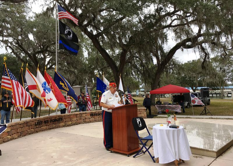 Retired Navy chief Walter Raysick serves as master of the Field of Honor ceremony, January 2018.