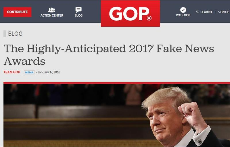 President Donald Trump this week released his Fake News Awards on the website of the Republican National Committee.