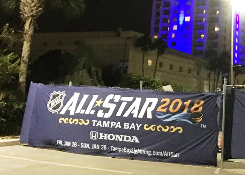 A banner on Thunder Alley announcing the upcoming NHL All Star Game.