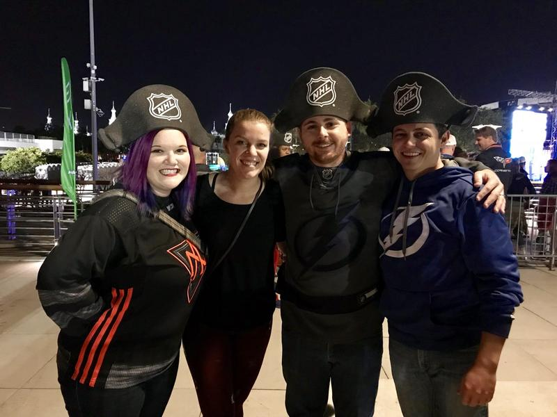 "Why come out to the free concert Friday night in Curtis Hixon Park for NHL All-Star Weekend? ""To be around all the other hockey idiots,"" says this group of diehard Tampa Bay Lightning fans."