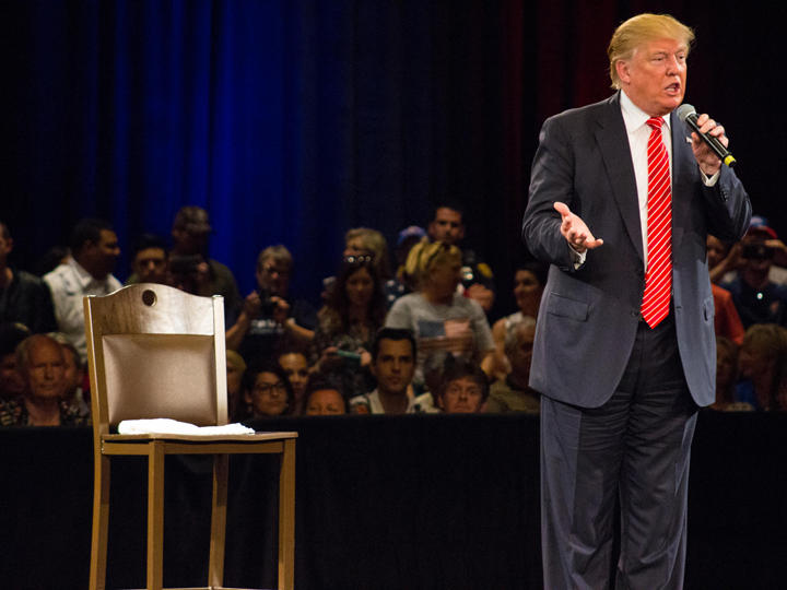 Then-candidate Donald Trump speaks at the Tampa Convention Center in March, 2016